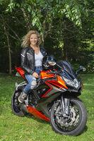 Happy sport motocyclist