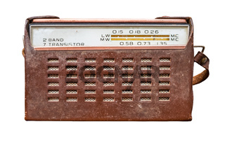 Vintage Transistor Radio In Leather Case