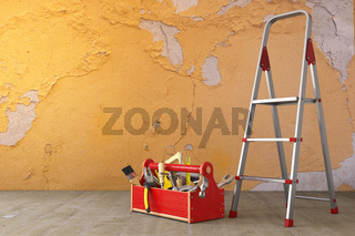 Home renovation and improvement concept. Ladder, toolbox with tools and old grunge wall in the room.