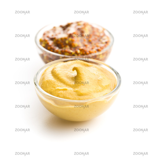 Yellow mustard and whole grain mustard.