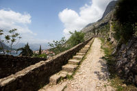 The path up to castle St. John above Kotor, Montenegro