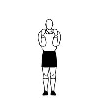 Rugby Referee penalty not releasing the ball Hand Signal Drawing Retro