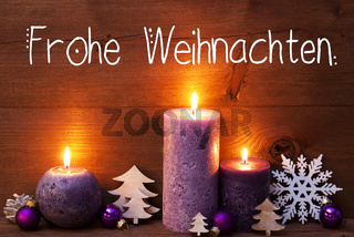 Purple Candle, Christmas Decoration, Frohe Weihnachten Means Merry Christmas