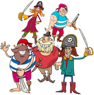 funny fantasy pirate cartoon charactersb group