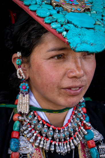 Indigenous Indian woman on festival in Ladakh