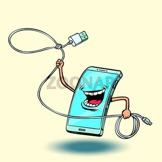 smartphone and usb cord. lasso