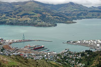 Lyttelton harbour from the Port Hills, New Zealand.
