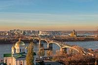 Cityscape and the bridge across river. Nizhny Novgorod, Russia