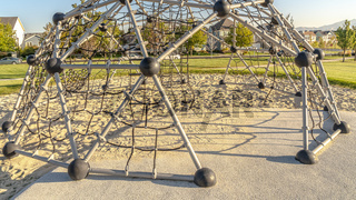 Panorama frame Urban climbing dome with nets in a kids playground