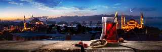 Tea and panorama of Istanbul