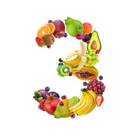 Number three made of different fruits and berries, fruit alphabet isolated on white background