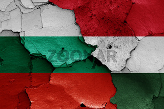 flags of Bulgaria and Hungary painted on cracked wall