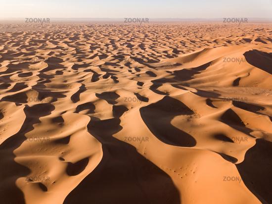 Aerial view on dunes in Sahara desert