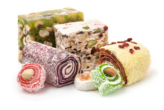 Traditional turkish delights with nuts