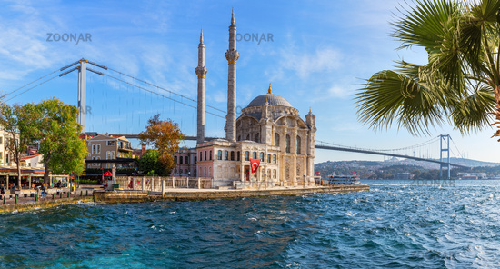 Ortakoy Mosque panorama, sunny day in Istanbul, Turkey
