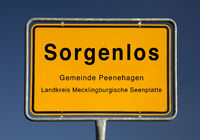 City Limits sign of Sorgenlos, quarter of Peenehagen, Mecklenburg Lake District, Germany, Europe