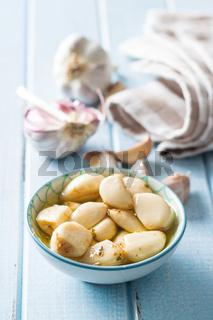 Marinated garlic. Pickled garlic.