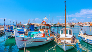 Port of Aegina with old fishing boats