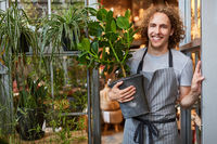 Junger Mann als Gärtner mit Grünpflanze