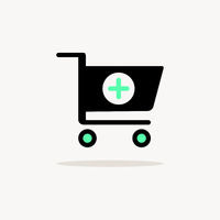 Shopping pharmacy cart. Icon with shadow on a beige background. Commercial vector illustration