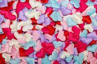 Many satin hearts background