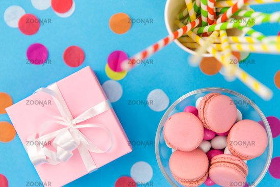 birthday gift, macarons and paper straws for party