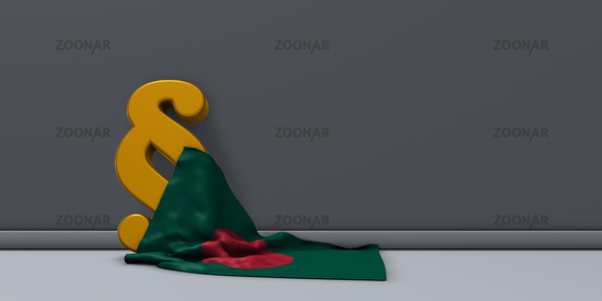 flag of bangladesh and paragraph symbol - 3d illustration