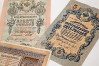 Moscow, Russia, 23 October 2019: Old russian banknote, 5 rubles and 10 rubles, circa 1909. Tzar Russia - bill 1909: A bill printed National Emblem - two-headed eagle. Old Russian money