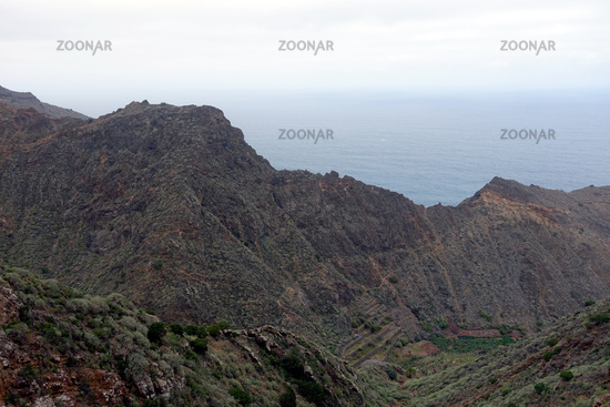 View of the dark cliffs of Agujo, La Gomera, Canary Islands