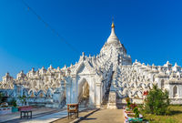 The white Hsinbyume pagoda near Mingun, Mandalay, Myanmar.