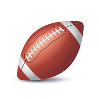 Orange American football ball icon isolated on white background, sports equipment, vector illustration.