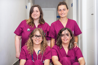 Cheerful woman veterinary team