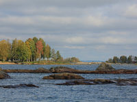 Autumn day at the shore of Lake Vanern, Sweden.
