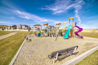 Small kids playground with colorful slides during day