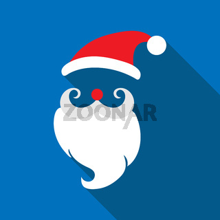 Santa Claus. long shadow, flat design.
