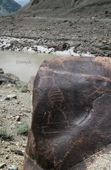 Petroglyphs at the bank of Indus river, Gilgit-Baltistan Pakistan