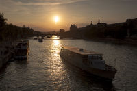 Boats in the Seine river, Paris, France