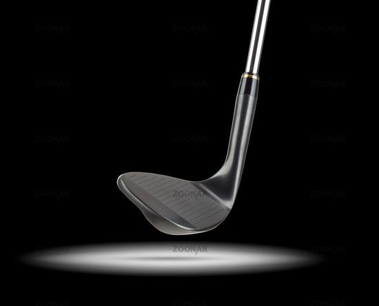 Black Golf Club Wedge Iron Under Spot Light With Black Background