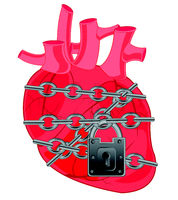 Heart of the person locked on barn lock