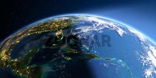 Detailed Earth. Caribbean islands