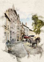 watercolor Carriage in Bruges