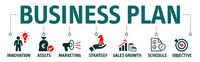 Banner business plan vector illustration concept with icons and keywords