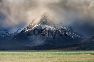 Mount Grinnell in Glacier National Park on a stormy day
