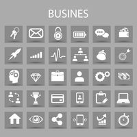 Vector flat icons set and graphic design elements. Illustration with business, management outline symbols. Marketing research, strategy, service, career, mission, analytic linear pictogram