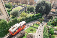 Red funicular in the old city of Bergamo