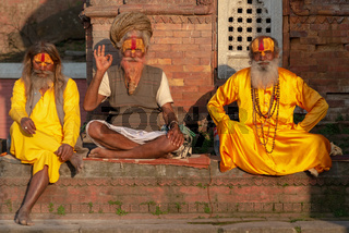 3 Sadhus posing for the camera at the Pashupatinath temple