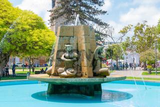 Chile La Serena close up of the fountain in the public gardens