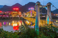 Wulingyuan, China - May 27, 2018: Town Wulingyuan at sunset in Tianzi Avatar mountains nature park