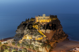Evening view of Monastery of Santa Maria dell'Isola in the town of Tropea