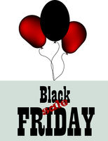 Black friday sale promotion banner with red balloons. Special offer. Vector background.